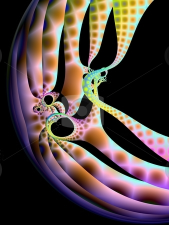 Trapped Squidlian stock photo, Computer generated fractal image with an abstract design in mottled pastel colors on a black background. by Colin Forrest