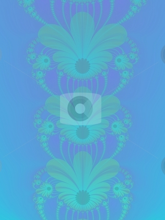Blue String Of Flowers stock photo, Computer generated fractal image with a floral design on a light blue background. by Colin Forrest