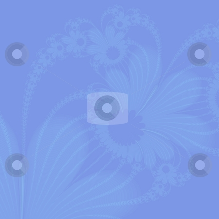 Blue Stencil Flowers stock photo, Computer generated abstract image with stencilled flower design in shades of blue. by Colin Forrest