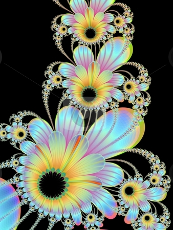 Climbing Flowers On Black stock photo, Computer generated fractal image with a design of climbing flowers in yellow and blue on a black background. by Colin Forrest