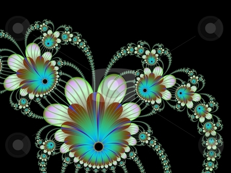 Blue And Green Flowers On Black stock photo, Computer generated fractal image with a design of climbing flowers in green and blue on a black background. by Colin Forrest
