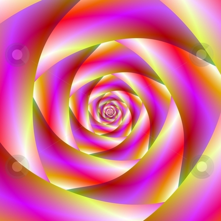 Candy Spiral stock photo, Computer generated image with a candy colored spiral tunnel design. by Colin Forrest