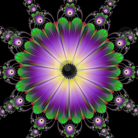 Floral Roundel In Green And Purple stock photo, Computer generated image with a floral roundel design in purple and green on a black background. by Colin Forrest
