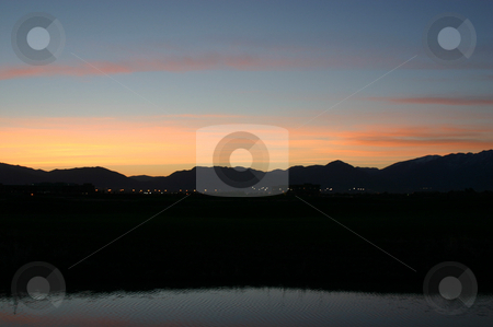 Sunrise by the golf course & pond in Salt Lake City stock photo, Sunrise by the golf course by Mehmet Dilsiz