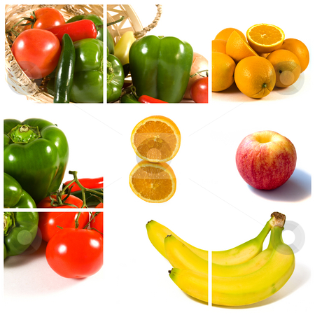 Collage of Fruits and Vegeatable stock photo, Isolated Fruits and Vegetable in a Collage by Mehmet Dilsiz