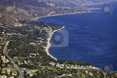 Malibu Coast stock photo, Aerial view of the south-facing Malibu coastline looking east by Bart Everett