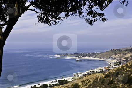 Malibu Point stock photo, View of Malibu Point and pier from hillside by Bart Everett