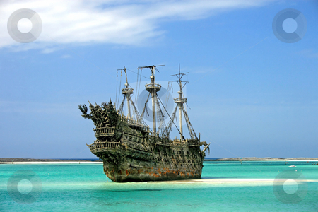 Caribbean Pirate Ship stock photo, A replica of an old ship in the Caribbean. by Lucy Clark