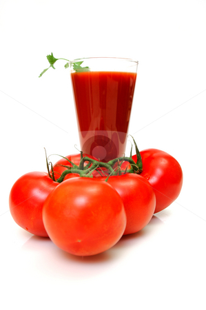 Tomato Juice And Fresh Tomatoes stock photo, Tall glass of tomato juice and fresh red tomatoes on a white background by Lynn Bendickson