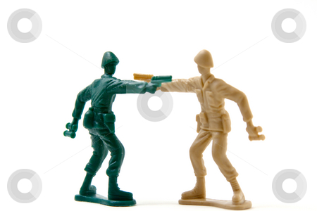 Duel - Never Give Up Concept stock photo, Isolated Plastic Toy Soldiers - Duel by Mehmet Dilsiz