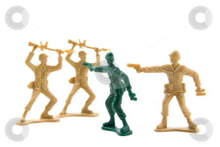 Bravery Concept - Plastic Soldiers stock photo, Isolated Plastic Toy Soldiers - Courage Concept by Prematurely Surrendering Soldiers by Mehmet Dilsiz