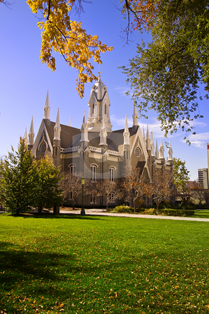 Mormon Temple Square stock photo, Mormon Temple Squae in Fall - Salt Lake City, Utah by Mehmet Dilsiz