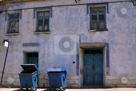 Unoccupied Ancient Blue House stock photo, Old Unoccupied House in Turkey by Mehmet Dilsiz