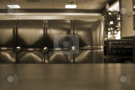 Close up on a Chrome Restaurant Booth stock photo, Close up on the cushions of a Fast Food Restaurant by Mehmet Dilsiz