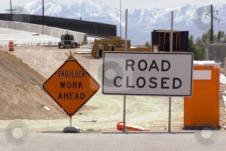 Construction Site and Road Closed SIgn stock photo, Bridge Construction Site and Road Closed SIgn by Mehmet Dilsiz