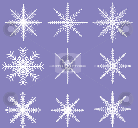 Snowflakes - Ready for Brush Templates stock photo, Two color Snowflake Template ready to be defined as a Brush by Mehmet Dilsiz