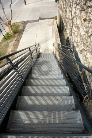 Metal Stairs Going Down stock photo, Metal Stairs Going Up at an Agnle by Mehmet Dilsiz