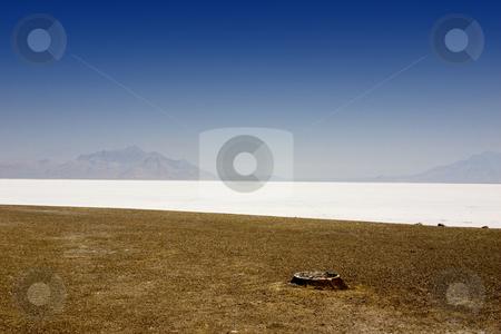 Salt Lake Shore with Blue Skies stock photo, Blue Skies above the White Salt Lake Deposits - Utah by Mehmet Dilsiz