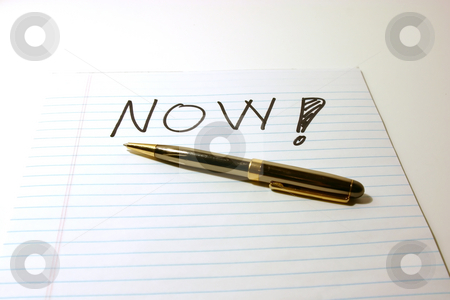 NOW - Notepad & Pen stock photo, NOW - Notepad & PenIsolated by Mehmet Dilsiz
