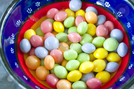 Close up on a Bowl of Candy stock photo, Close up on a Blue Bowl of Candy by Mehmet Dilsiz