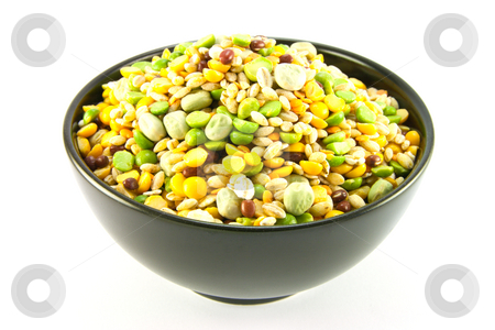Soup Pulses in a Bowl stock photo, Assorted soup pulses in a black bowl with a white background by Keith Wilson