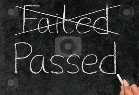 Crossing out failed and writing passed on a blackboard. stock photo, Crossing out failed and writing passed on a blackboard. by Stephen Rees