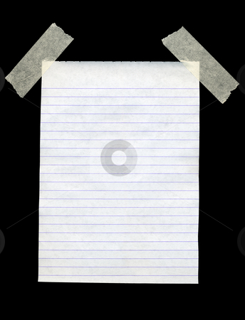 Blank white lined paper isolated black background. stock photo, Blank white lined paper isolated black background. by Stephen Rees