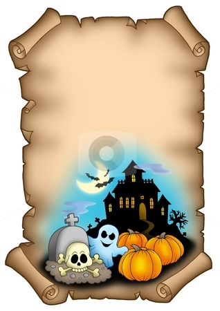 Haloween parchment 2 stock photo, Halloween parchment 2 - color illustration. by Klara Viskova