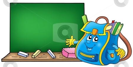 School bag with blackboard stock photo, School bag with blackboard - color illustration. by Klara Viskova