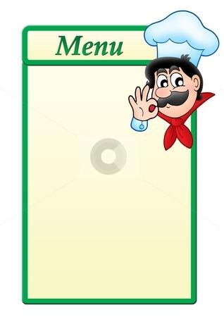 Menu template with cartoon chef stock photo, Menu template with cartoon chef - color illustration. by Klara Viskova