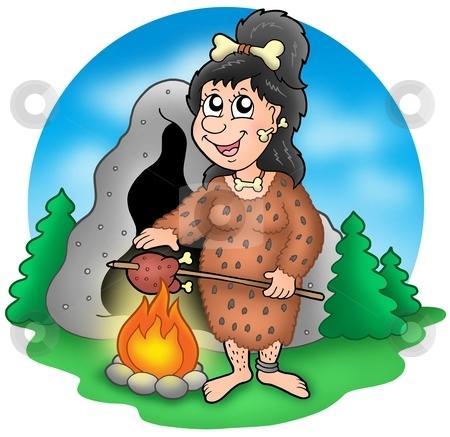Cartoon prehistoric woman before cave stock photo, Cartoon prehistoric woman before cave - color illustration. by Klara Viskova