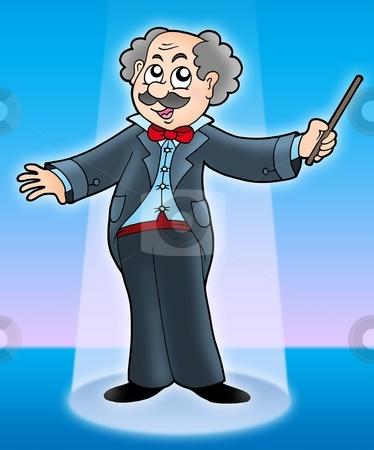 Musical maestro on stage stock photo, Musical maestro on stage - color illustration. by Klara Viskova