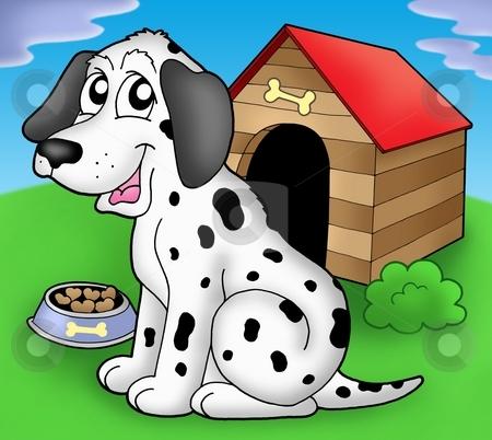 Dalmatian dog in front of kennel stock photo, Dalmatian dog if front of kennel - color illustration. by Klara Viskova