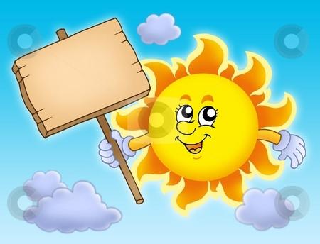 Summer Sun with table on sky stock photo, Summer Sun with table on sky - color illustration. by Klara Viskova