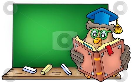 Owl teacher reading book on blackboard stock photo, Owl teacher reading book on blackboard - color illustration. by Klara Viskova