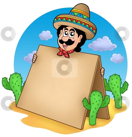 Mexican man with table in desert stock photo, Mexican man with table in desert - color illustration. by Klara Viskova