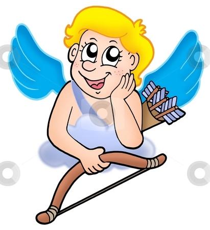 Cupid resting on cloud stock photo, Cupid resting on cloud - color illustration. by Klara Viskova