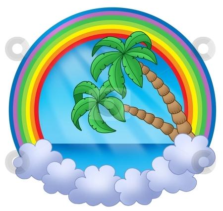 Rainbow circle with palm trees stock photo, Rainbow circle with palm trees - color illustration. by Klara Viskova