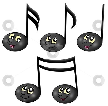 Cute music notes stock photo, Cute music notes - color illustration. by Klara Viskova