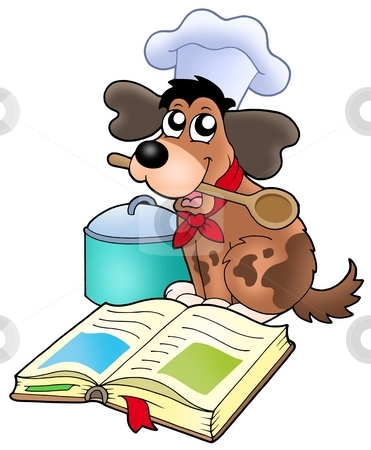 Cartoon dog chef with recipe book stock photo, Cartoon dog chef with recipe book - color illustration. by Klara Viskova