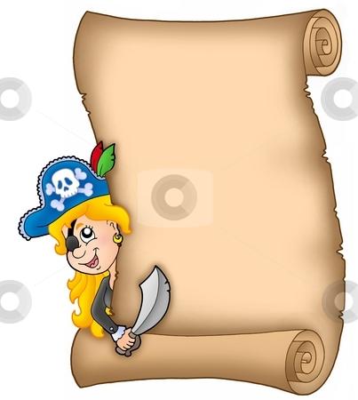 Parchment with lurking pirate girl stock photo, Parchment with lurking pirate girl - color illustration. by Klara Viskova