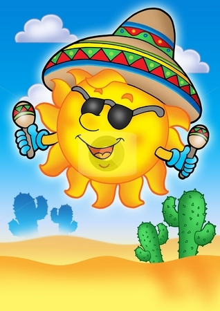 Mexican sun on blue sky stock photo, Mexican sun on blue sky - color illustration. by Klara Viskova