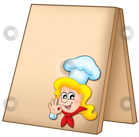 Menu board with cartoon chef woman stock photo, Menu board with cartoon chef woman - color illustration. by Klara Viskova