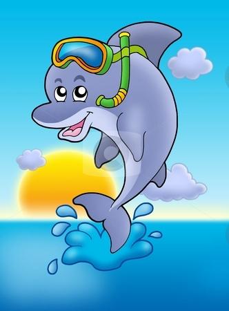 Dolphin snorkel diver with sunset stock photo, Dolphin snorkel diver with sunset - color illustration. by Klara Viskova