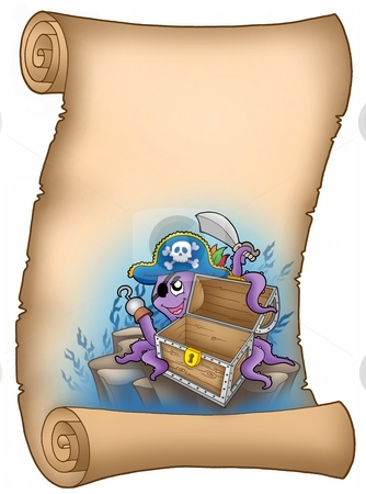 Parchment with pirate octopus stock photo, Parchment with pirate octopus - color illustration. by Klara Viskova