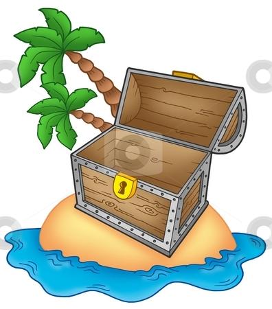 Pirate island with open chest stock photo, Pirate island with open chest - color illustration. by Klara Viskova