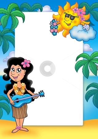 Frame with Hawaiian girl stock photo, Frame with Hawaiian girl - color illustration. by Klara Viskova