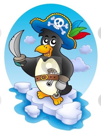Pirate penguin on iceberg stock photo, Pirate penguin on iceberg - color illustration. by Klara Viskova