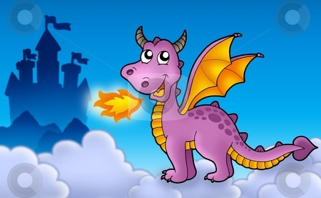 Purple dragon with castle stock photo, Purple dragon with castle - color illustration. by Klara Viskova