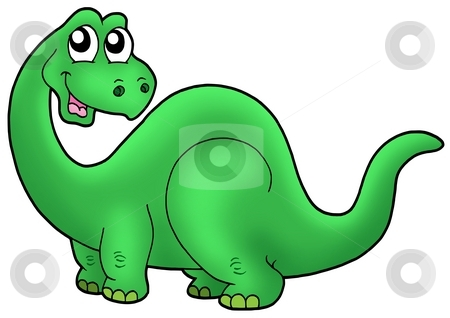 Cute cartoon dinosaur stock photo, Cute cartoon dinosaur - color illustration. by Klara Viskova